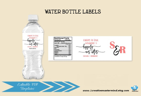 Like this item DIY Wedding Water Bottle Label Template Editable Water bottle. Diy Wedding Water Bottle Labels. Home Design Ideas