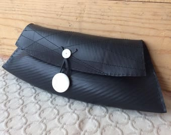 Modern Reclaimed Rubber Clutch - polished shell buttons