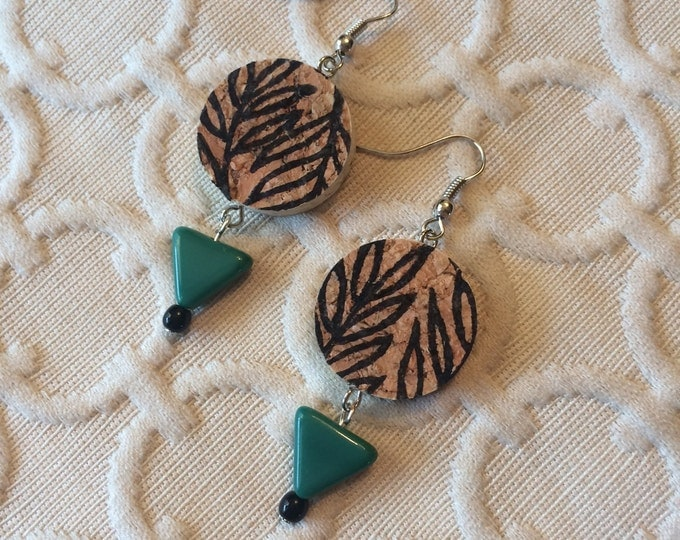 Boho Botanical Leaf Wine Cork Earring - green triangle bead