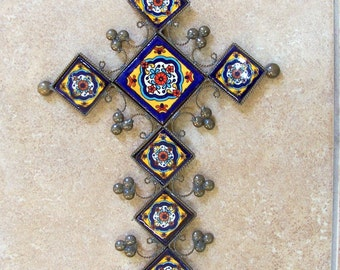 "Cross vintage look decor hand made of ceramic tile and metal 11.5"" x 8"" tile design with Mexican designs of plants"