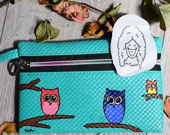 One Compartment Purse - Owl - Turquoise