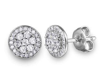 Beautiful | Minimal Sterling Silver Rhodium Plated CZ Encrusted Double Layer Disc Studs