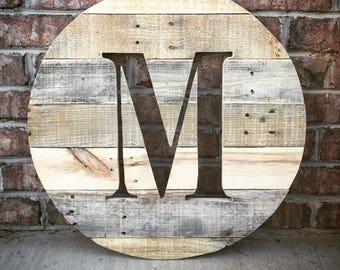 Momogrammed Reclaimed wood round