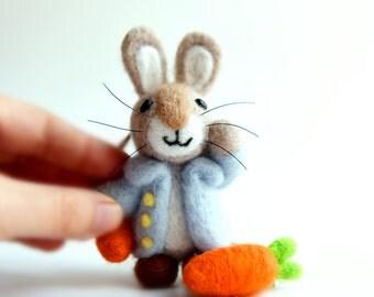 Handmade Needle Felted Rabbit,  Felted Bunny, Felt Bunny, Peter Rabbit