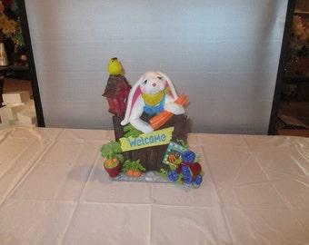 welcome ceramic bunny