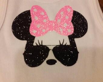 Glitter Sunglass Minnie with pink bow