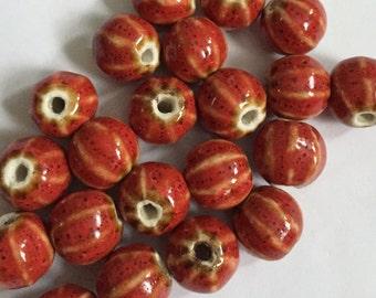 Czech Glass Red Melon Beads