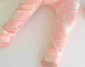 Baby Pants, Harem Leggings, BUCK FOREST PINK, Handmade Clothes, Baby Gift Set, Toddler Clothing, Baby Leggings, Baby Harems