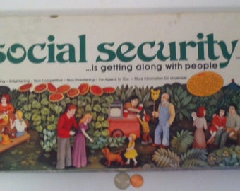 Vintage 1976 Board Game Social Security, For Ages 6 to 106, Social Security Benefits Can Begin At Age 6, Vintage Board Game that Teaches
