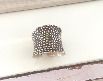 Thai hill tribe sterling silver cuff ring