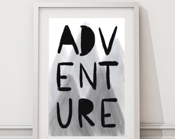 Adventure | Wall Print | Adventure Awaits | Adventure Is Out There | Nursery Wall Decor | Travel Decor | Mountains