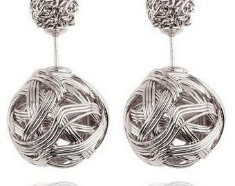 Double Ball Earrings Metal Braided Hollow Studs Earrings