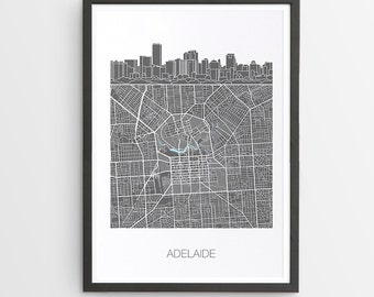 Adelaide City Skyline Map Print / South Australia / Skyline illustration / City Print / Australian Maps / Giclee / Unframed