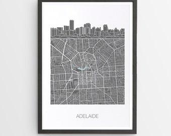 Adelaide City Skyline Map Print / South Australia / Skyline illustration / City Print / Australian Maps / Giclee / Unframed