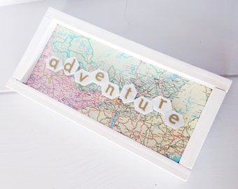 Adventure Wood and Marble Sign