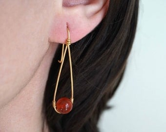 Carnelian Earrings, Wire Gemstone Earrings, Gold Gemstone Earrings, Elegant Gemstone Earrings, Carnelian Jewelry, Gemstone Earrings