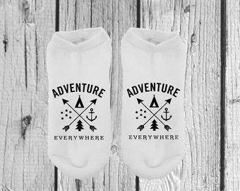 Adventure Socks - Gifts Under 10 - Socks - No Show Socks - Women Socks