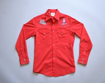 vintage western cowboy shirt with embroideries and pearl snap buttons / size medium / red cotton / western cowboy