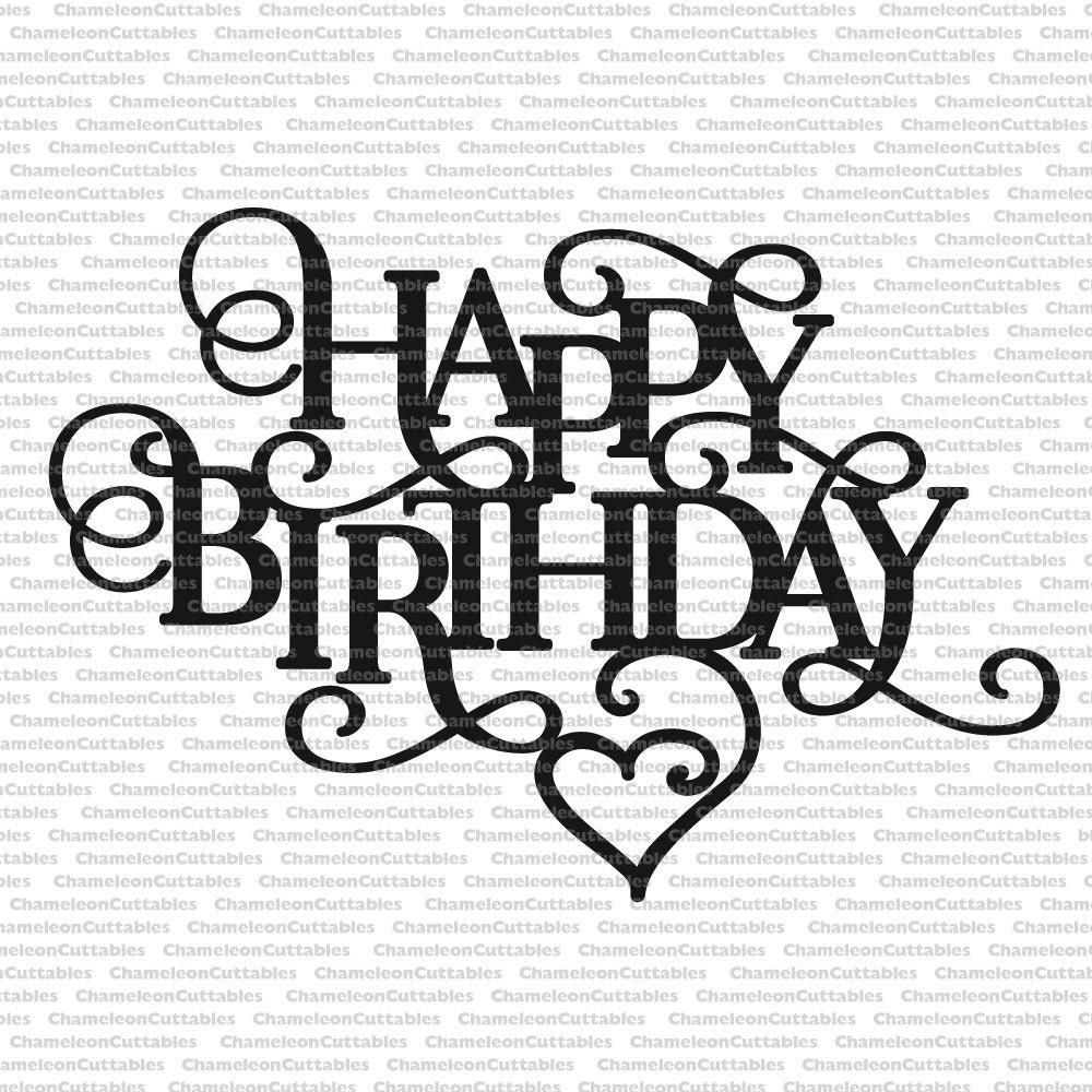 Happy Birthday Heart Decoration Card Svg Vector Files