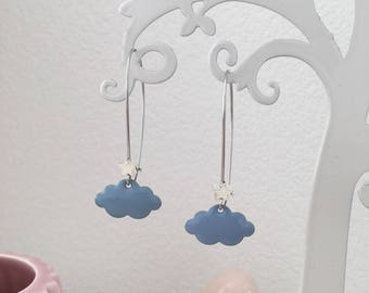 """Star clouds"" light blue and Silver earrings"