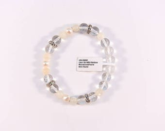 Charming Clear Quartz, Rainbow Moonstone and Pearl Bracelet.