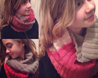 Hand-Made Knit Wrap Scarf - Multi-Colour - Burgundy/Beige/Taupe