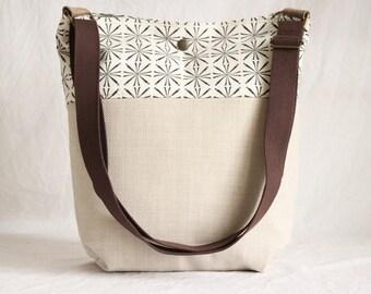 Shoulder bag, shoulder bag, cloth bag, beige, graphically