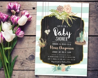 Vintage baby shower invitation, baby shower invitation, boho baby shower invitation, vintage, succulents, mint and white, rustic (Fleur)