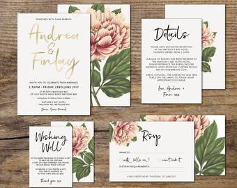 Peony Floral Wedding Invitation Suite, DIY, Printable, Foil, Peony Flower, Coral, Blush, Foil, Gold, Rose Gold, Silver, Blue (Peony in Love)