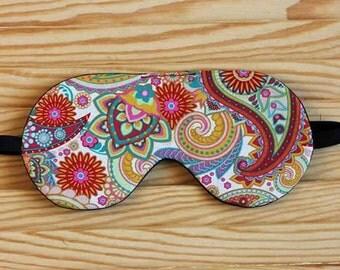 Paisley Sleep Mask, Gift for her, Sleeping Mask, travelers gift, travel eye mask, Mother's Day gift, Best Gift for Girlfriend, Eye Pillow