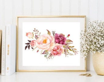 Beautiful flowers bouquet watercolor print pink flowers floral botanical illustration wall art print decor poster bedroom kitchen decor 5x7
