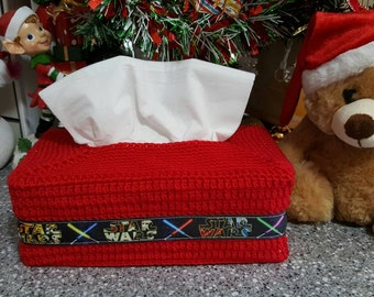 Star Wars Crochet Tissue Box Cover. Starwars Ribbon on a crocheted tissue box cover.....your choice of colours.