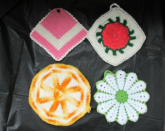 FREE SHIPPING in USA Vintage Cotton Hand Crocheted Pot Holders   593