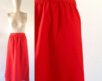 vintage 1970s skirt  •  pendleton wool  •  cherry red・FREE SHIPPING