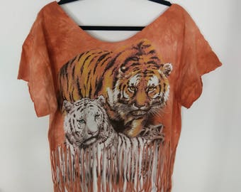 Bleached Graphic Tee w/ fringe, Size XL