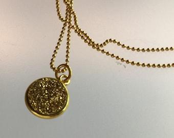 Druzy pendant/pendent/Gold Druzy/Drusy/Gold/ball chain / gold ball chain /