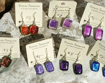 Fused Glass Dichroic  Earrings Jewelry, Salmon, Orange, Pink, Magenta, Purple, Eggplant, Dark Purple, Coblat Blue, Dangle Earrings
