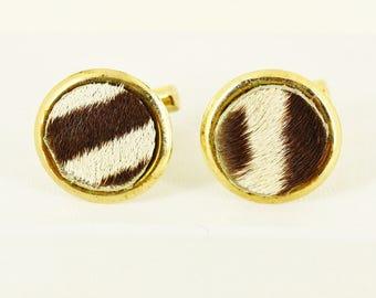 1950s Zebra Hide Cufflinks - Natural Zebra Skin Safari Cuff Links  - Mad Men Accessories, Mid Century Modern Exotic Estate Jewelry Mens Gift