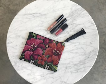 Woven Floral Clutch