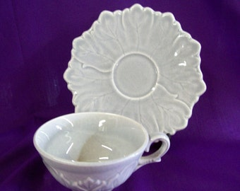 Vintage Steubenville Pottery Cup & Saucer - Dove Gray Woodfield