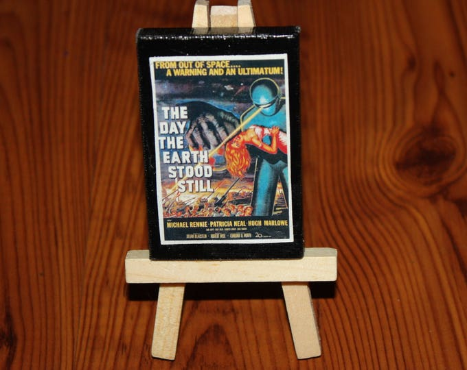 Vintage The Day the Earth Stood Still Mini Movie Poster Ad on Canvas Dollhouse Art