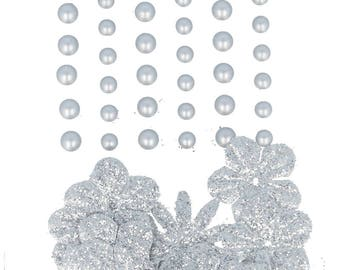 Self-adhesive pearls and flowers in silver paper - flower embellishment - paper flower