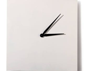 Support to decorate wooden - clock to decorate white square - 20 cm
