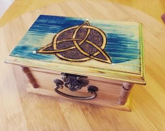 Celtic Wood Burned Jewelry Box