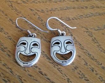 Sterling Silver Thespian Actors Mask Earrings