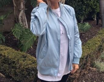 Baby blue bomber jacket