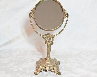Antique Geisha Figure Standing Vanity Mirror