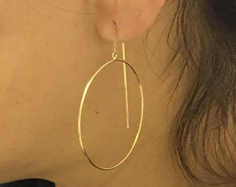 Unique 14k yellow gold loops earrings