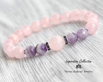 8mm Rose quartz bracelet|Gift|for her|Gemstone Bracelet|Bead Bracelet Women|Rose quartz Gemstone Jewelry|Womens gift