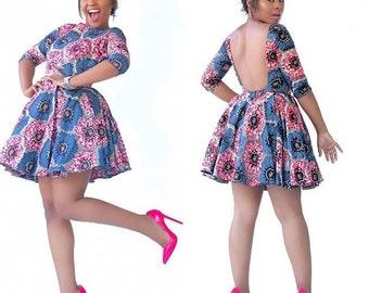 Backless African Print Mini Dress